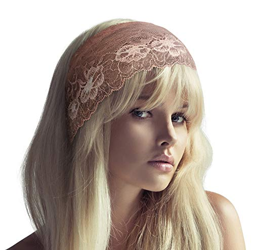 ShariRose Stunning Stretch Wide Floral Lace Head-Bands in Many Beautiful Colors Handmade (Nude Champange Pink Beige)