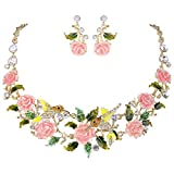 Product review for EVER FAITH Crystal Enamel Hummingbird Hibiscus Flower Leaf Necklace Earrings Set Gold-Tone
