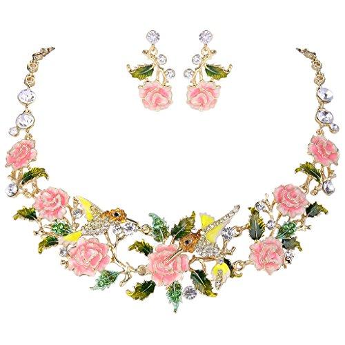 EVER FAITH Crystal Enamel Hummingbird Hibiscus Flower Leaf Necklace Earrings Set Pink Gold-Tone