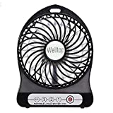 Welltop® Electric Portable Mini fan Rechargeable Desktop Fan 4-inch Vanes 3 Speeds Battery/ USB Powered Household Summer Cooler Cooling Operated Cool Cooler Fan with 18650 Rechargeable Battery and USB Charge Cord (Black)