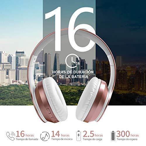 Ifecco Cascos inhalabricos,Auriculares inalambricos,Auriculares Bluetooth 5.0 Diadema Plegable,con microfono(Oro Rosa3)