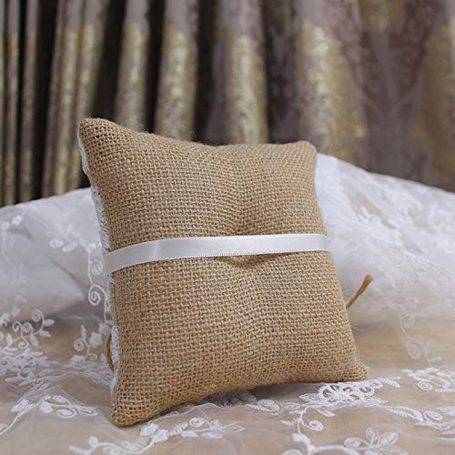 Burlap Ring Bearer Pillow Lace Bow Flower Bridal Embroided Wedding Accessories Vintage Rustic Country Ceremony Cushion