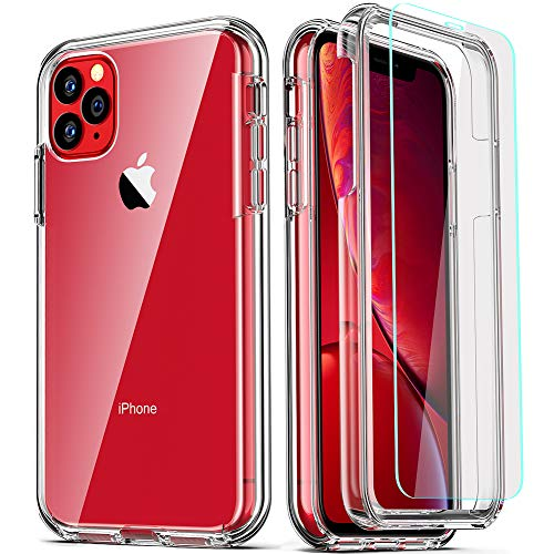 COOLQO Compatible for iPhone 11 Pro Max Case, with [2 x Tempered Glass Screen Protector] Clear 360 Full Body Coverage Hard PC+Soft Silicone TPU 3in1 Certified Military Shockproof Phone Protective