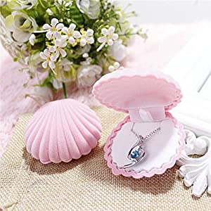mk. park - Cute Shell Velvet Gift Box Ring Boxes Jewelry Earing Ring Necklace Storage Case (Pink)