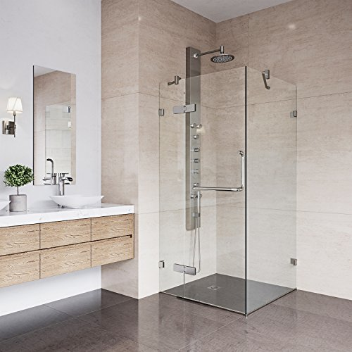 VIGO Monteray 32 x 32-in. Frameless Shower Enclosure with .375-in. Clear Glass and Brushed Nickel Hardware