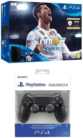 PlayStation 4 (PS4) - Consola de 1 TB + FIFA 18 + Sony - Dualshock 4 V2 Mando Inalámbrico, Color Negro V2 (PS4): Amazon.es: Videojuegos