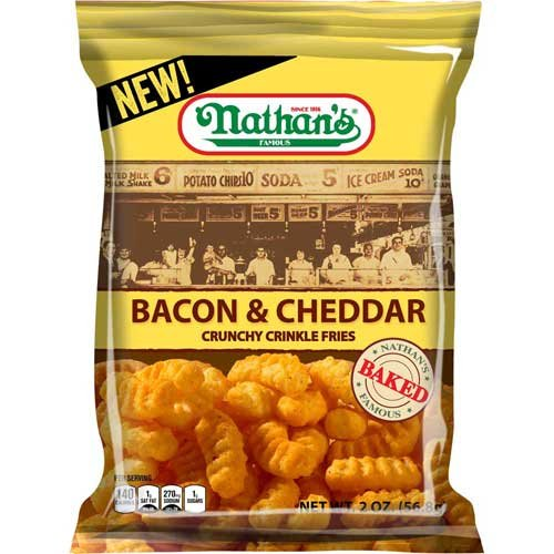 Nathans Snack - Nathans Bacon and Cheddar Crinkle Fries, 2 Ounces -- 6 per case.