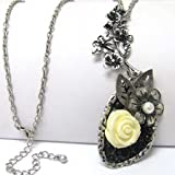 Vintage Style Yellow Rose with Faux Pearl Pendant 30'' Adjustable Silver tone Necklace