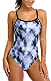 ALove Women One Piece Competition Swimsuits Ladies Athletic Racerback Swimwear XXL Black