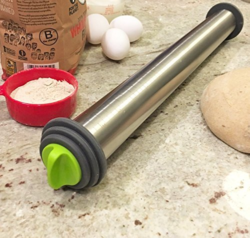 Chef O' Gadgets Stainless Steel Rolling Pin w/ 3 Adjustable Discs: French Style Baking Rod: Freezer Safe Non Stick Feature : Roll Dough, Pastry, Pasta and Pizza to 3 Precise Thicknesses