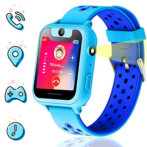 Themoemoe Kids smartwatch, Kids GPS Watch Gifts for 4-8 Year Old Girls Touchscreen Camera Game Compatible with 2G T-Mobile Birthday Gift for Kids(S6-Blue)