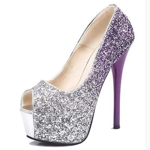 L'Europe Les Etats Unis en cuir pour femmes étanche Tai Fish Mouth Paillettes Pump Superfine Sandales de mariage , purple , 38