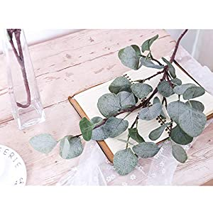 YUYAO Artificial Plants Silver Dollar Eucalyptus Leaves 6Pcs Leaf Silk Artificial Greenery Stems Fake Plants Leaves for Home Wedding Party Decoration 6