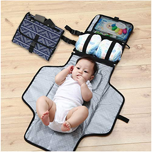Baby Portable Changing Pad - Changing Pad Portable- Diaper Clutch - Lightweight Travel Station Kit for Baby Diapering - Detachable and Wipeable Mat and Soft Head Pillow - Perfect Baby Shower Gift