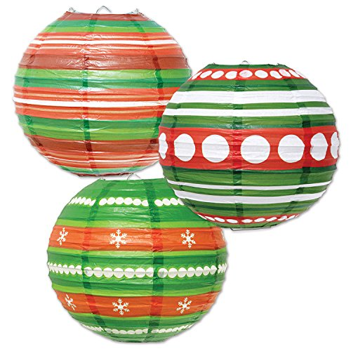 Christmas Paper Lanterns - Beistle Ornament Paper Lanterns, 9 1/2-Inch, Red/Green/White