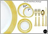 Royalty Settings Crystal Collection Plastic Cutlery and Plates Set Party Package for 120 Persons, Includes 120 Dinner Plates,120 Salad Plates, 240 Forks, 120 Knives and 120 Spoons