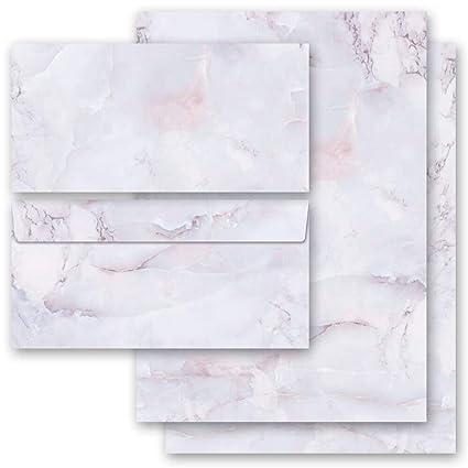 40-tlg Motivpapier Komplett-Set MARMOR BLAU 20 Blatt Briefpapier 20 passende Briefumschl/äge DIN LANG ohne Fenster