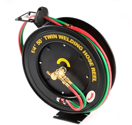 GHP Business/Industrial 50 ft 1/4'' Retractable Welding Torch Hose Steel Reel from Globe House Products