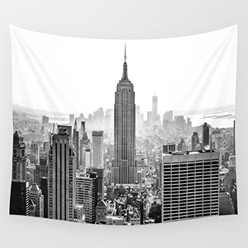 "Black and Gray Modern City New York City High Buliding Image, Wall Hanging for Bedroom Living Room Dorm (51""H x 60""W, Modern City)"
