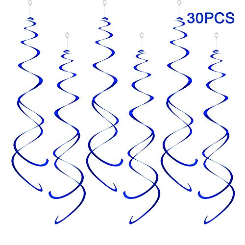 AimtoHome Party Swirl Decorations, Blue Foil Ceiling Hanging Swirl Decoration, Whirls Decorations for Birthday | Wedding | Anniversary | Graduation Party Supplies, Pack of 30