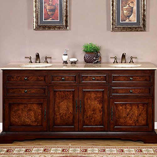 - Silkroad Exclusive Travertine Stone Top Double Sink Bathroom Vanity with Bath Cabinet 72