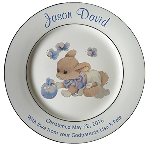 Personalized Birth Plate with 2 Silver Bands - Blue Sleepytime Design