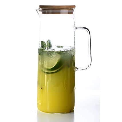TAMUME 1.5 Litros Jarra de Agua con Tapa de Bambú, Jarra de Vidrio de Diseño