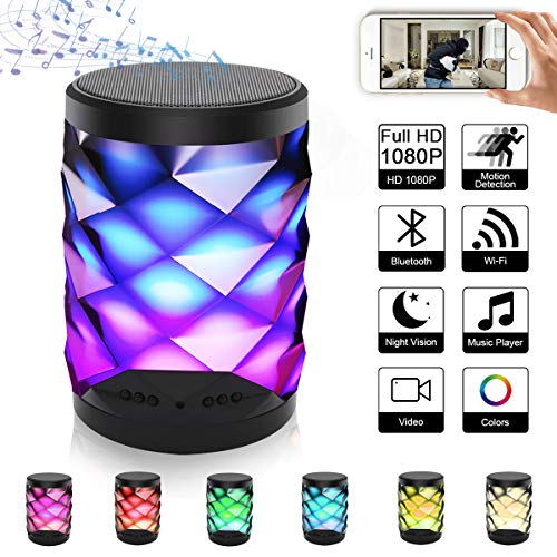 SUSZAVSS Hidden Camera Bluetooth Speaker, Portable WiFi Spy Cam 4K/1080P Video Recorder, Motion Detection/Night Vision/Remote Monitor Nanny Cam, HD Stereo with Colorful Night Light for Home