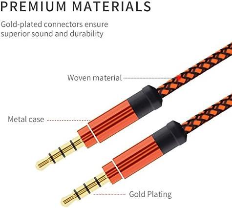 RETYLY オレンジ 1.5メートル ハイグレード 編組 メタル オーディオケーブル 3.5 mm AUXオーディオケーブル