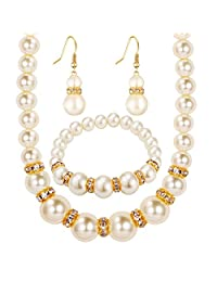 MENGDA Bridal Wedding Party Plated 18K Gold Faux Pearl Necklace + Earrings + 1-Row Bracelet Set