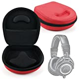 Hard Shell EVA Case (Red) For Audio-Technica ATH-M50X, M50, M40, M30 / ATH-ANC9, ANC7, ANC7B, FC707, RE70WH & WS99 - with Internal Netted Accessories Pocket - by DURAGADGET