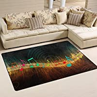 DEYYA Custom Print Non-slip Area Rugs Pad Cover 60 x 39 Inch, Flow Of Musical Note Abstract Modern Throw Rugs Carpet for Dining Room Playroom Living Room Home Decoration
