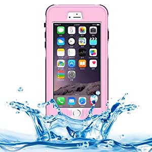 ABS Material Waterproof Protective Case with Button & Fingerprint Unlock & Touch Screen Function for iPhone 6 Plus(Pink)