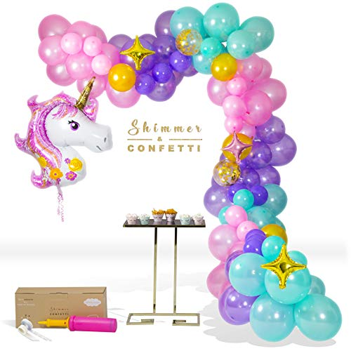 SHIMMER AND CONFETTI   16ft Unicorn Balloon Arch & Garland Kit   Giant Unicorn Balloon, 145 Pink, Purple and Aqua Balloons, 5 Gold Confetti Balloons, 16' Decorating Strip & Pump   4 Star Balloons