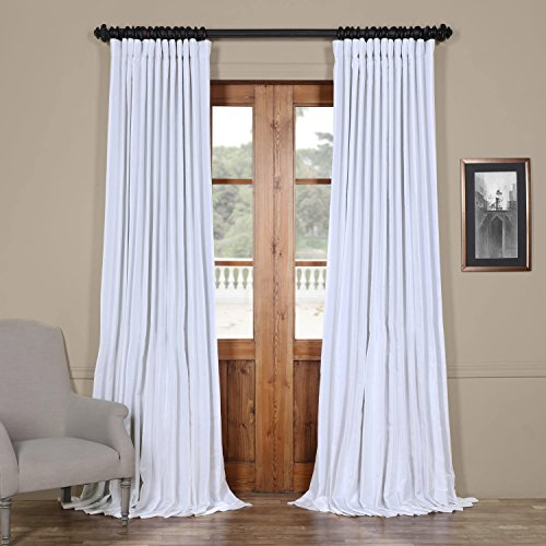 PDCH-KBS1BO-96-DW Blackout Extra Wide Vintage Faux Dupioni Curtain, Ice, 100 x 96 (Silk Drapes White)