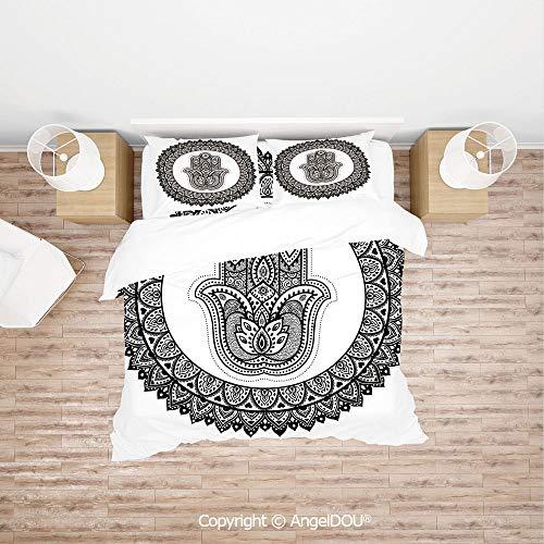 PUTIEN Modern Cotton Bedding 4 Pieces Set Duvet Cover Set,Ancient Eastern Oriental Henna Hand and Mehndi Arabesque Tattoo Work of Art Print,with Zipper Closure Home Bedding Sets.