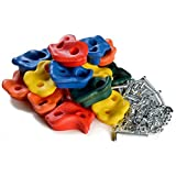 Textured 20 PCS Climbing Holds Rock / Bolts&T-nuts - ODOLAND Coloured Climbing Stones Indoor/Outdoor Playground Set for Kids Children Multi-Color Assorted - with Installation Hardware Galvanized Steel Allen Head