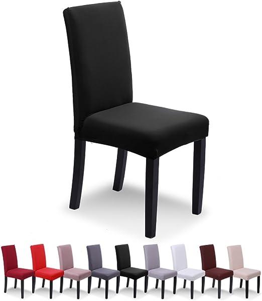 SaintderG® Fundas para sillas Pack de 4 Fundas sillas Comedor, Lavable Extraíble Comedor Extraíble Funda, Duradera Modern Bouquet de la Boda, Hotel, Decor Restaurante (Negro, Pack de 4): Amazon.es: Hogar