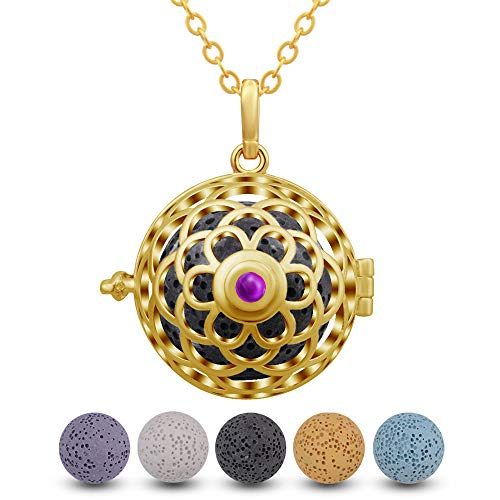 INFUSEU Flower Aromatherapy Essential Oil Diffuser Necklace with 5 PCS Lava Rock Stone for Women Jewelry