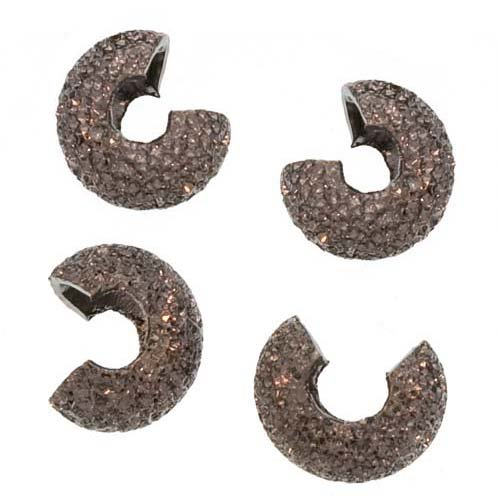Gun Metal Stardust Sparkle Crimp Bead Covers 4mm (144)