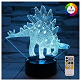 ZOKEA Dinosaur Toys Night Lights for Kids 7 Colors Changing 3D Night Light with Smart Touch & Remote Control Bedside Lamp for Kids for Boys Girls Age 2 3 4 5 6+ Year Old Boys Gifts Boys Toys