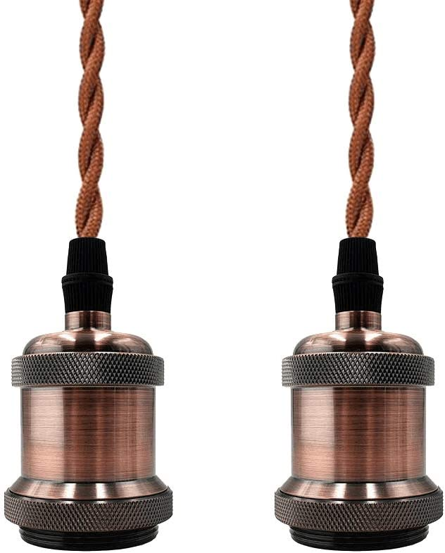2 Pack DIY Light Socket Kit E26// E27 Mini Vintage Industrial Vintage Edison Pendant Lamp Holder Antique Base with Twisted Brown Cloth Fixtures Coffee