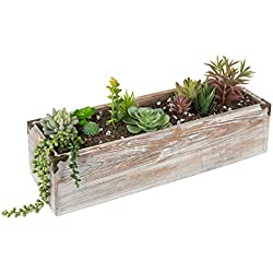 MyGift 21-Inch Rustic Whitewashed Wood Planter Box
