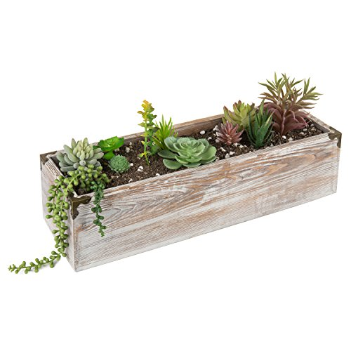 MyGift 21-Inch Rustic Whitewashed Wood Planter Box]()