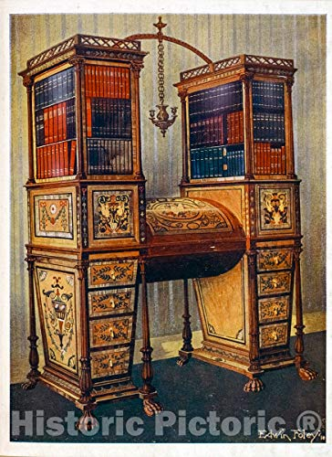 Historic Pictoric 1910 Print | The sisters inlaid double secretaire and bookcase cabinet: Sheraton, ca. 1800. | Vintage Wall Art | 24in x 32in