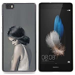 Stuss Case / Funda Carcasa protectora - Mujer Señora triste Femenino Gris Profundo - Huawei Ascend P8 Lite (Not for Normal P8)