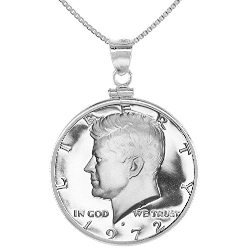 (Sterling Silver Kennedy Half Dollar Coin Necklace Screw Top Bezel 1971-present)