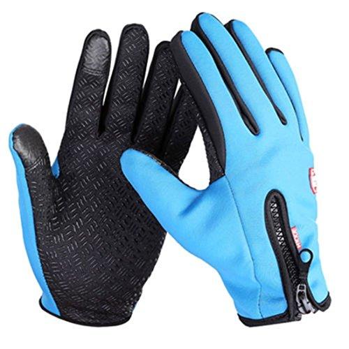 1Pcs (1 Pair) Apogee Popular Waterproof Touch Screen Warm Glove Soft Feeling Winter Season Comfortable Size M Color Blue