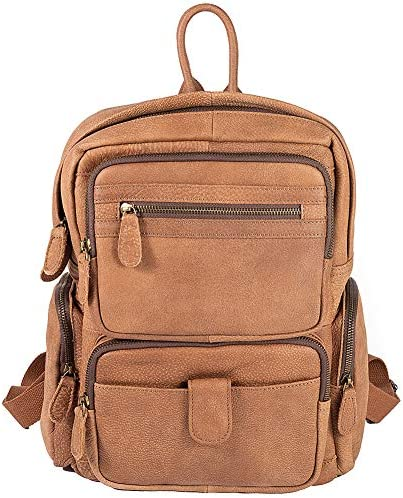 Casual Genuine Leather Laptop Backpack Fashion Lightweight Anti Theft Slim Durable Business Travel College School Bag 12 x 15