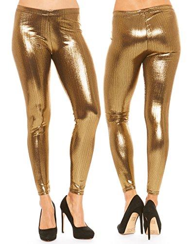 Just One Women's Seamless Metallic Party Disco Gold